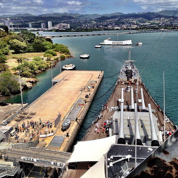 The Missouri's 1,000-foot pier provides visitors with the best view from land of the USS Arizona Memorial. Courtesy photo.